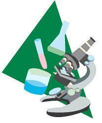 研究イメージ(緑の三角バックに学校顕微鏡)