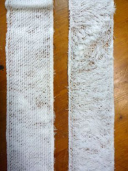 Front and back face of the pile fabric